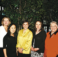 (From left) The Honorable Renee Worke, Minna Zhov, Ann Bancroft, Mary LaGarde, and a representative of the Minnesota Women's Consortium. Photo by Sophia Hantzes