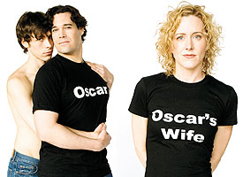 (From left) Brandon Weinbrenner (Bosie), Matthew Greer (Oscar), Sarah Agnew (Constance) . Photo by Ann Marsden