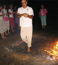 Timothy Cope firewalking at Lendrick Lodge, Scotland. Photo Courtesy of Timothy Cope