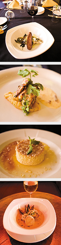 Grilled Romaine with Chorizo. Grilled Shrimp with Diabla Sauce and Fufu. Coconut Flan. Zarsuela de Mariscos. Photos by Hubert Bonnet