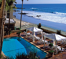 The pool and sundeck at the glamorous Surf & Sand Resort affords stunning views of Laguna Beach and the crashing Pacific surf. Photo courtesy Surf & Sand Resort