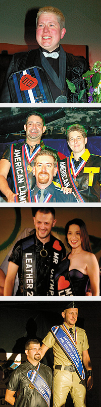 "(Top to bottom) Hobbit, International Ms. Leather 2008. Photo by Marcus Hernandez. (Clockwise from upper left) Randy Carmenaty, American Leatherman 2008; Joan Norry, American Leatherwoman 2008; and Chris Scherrer, American Leatherboy 2008. Photo by Marcus Hernandez. Andrew, Mr. Olympus Leather 2008 (left), and Mistress Sabrae, Ms. Olympus Leather 2008. Photo by Steve Lenius. Alan ""boy taz"" Arble, International Deaf leatherboy 2008 (left), and Marc ""Sir Y"" Burton, International Mr. Deaf Leather 2008. Photo by Steve Lenius"