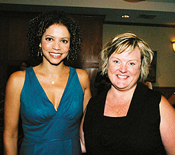 Gloria Reuben (left) and Lorie Alveshere of the Minnesota Organization on Adolescent Pregnancy, Prevention and Parenting. Photo by Sophia Hantzes