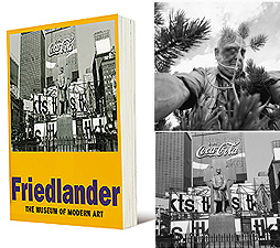 "(Clockwise from left) Lee Friedlander. California, 1997. Gelatin silver print. 14-15/16 x 14-13/16""; Lee Friedlander. Father Duffy. Times Square, New York City, 1974. Gelatin Silver Print. 7-1/2 x 11-1/4""."