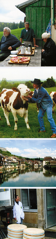 "Lunch of comté; Tas the ""Cow-Whisperer""; Ornans, typical village in the Comté country; Cheesemaker. Photos Courtesy of Carla Waldemar"