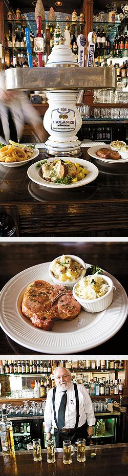 Chicken Breast Sandwitch (special of the day), Meatloaf (special of the day), Smoked Pork Chop. Smoked Pork Chop. Davis Wilson serving Apple Schnapps. Photos by Hubert Bonnet