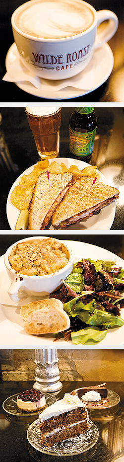 Latte; TBLT and beer; macaroni & cheese; cheesecake, carrot cake, and La Bête Noire. Photos by Hubert Bonnet