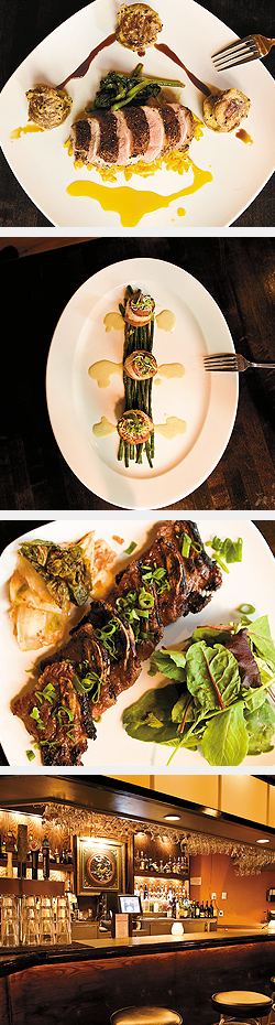 Yuzu Cointreau Duck; Scallops served atop sweet-potato cakes; Korean Short Ribs; Bar area. Photos by Hubert Bonnet