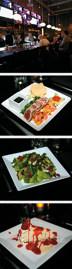 Bar; Salt and Pepper Seared Ahi Tuna; Broadway Show Salad; New York cheesecake with white chocolate and rasberry sauce. Photos by Mike Hnida