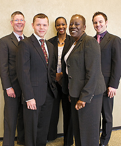 (From left) Daniel Duty, Director of Business Partnerships and Negotiation, and Cochair of GLBT Business Council at headquarters; Adam Domian, Senior Executive Compensation Business Partner, and Cochair of GLBT Business Council at headquarters; Tracey Burton, Director of Diversity; Gwen Jones, Senior Group Manager of Diversity; Brad Wagner, Manager of Human Resources, and GLBT Business Council Community Engagement Lead. Photo by Hubert Bonnet