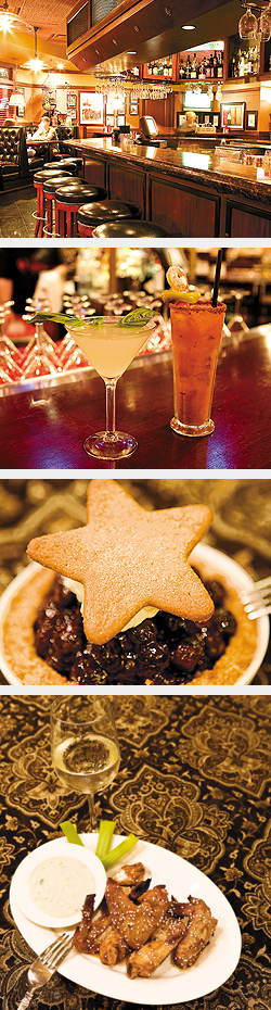 Bar; Martini and House Bloody Mary; Not Your Momma's Blueberry Pie; Chicken Wings. Photos by Hubert Bonnet