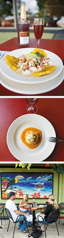 Ceviche Served with Fried Plantains; Crab Croquetas with Roasted Red Pepper Sauce; Patio. Photos by Hubert Bonnet