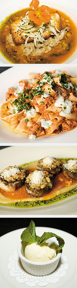 Halibut; Pappardelle with pork bolognese and Gorgonzola; Sicilian Stuffed Mushrooms; Peach Gelato. Photos by Mike Hnida