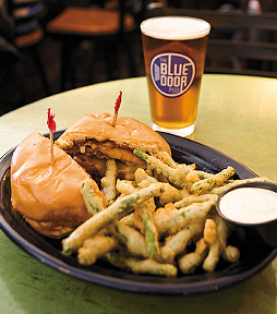 Cowboy Bacon Blucy Burger Served with Beer-Battered Greens Beans Fries.