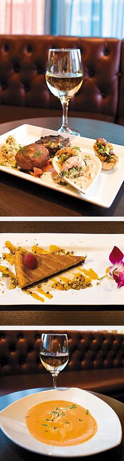 Taste of OM platter: Fresh Mint & Potato Tartlets; Mumbai Crackers; Patiala Cakes; Coconut Shrimp; Fenugreek; Lamb Chops; Alphonso Mango Cheesecake; Cardamom Thai Chile. Photos by Hubert Bonnet