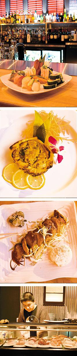 Omakase Platter; Baked Salmon; Crispy Pork. Photos by Hubert Bonnet