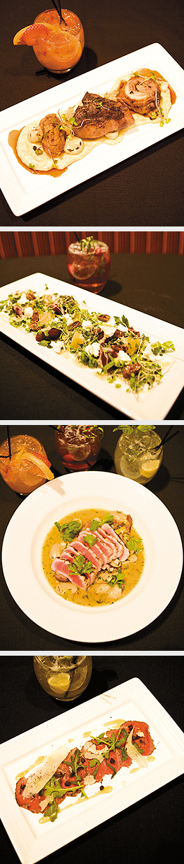 Lamb; Rosted Beet Salad; Ahi Tuna with drinks Mississippi Molotov, Gatsby's Daisy, Healdsburg Homage; Beef Carapaccio. Photos by Hubert Bonnet