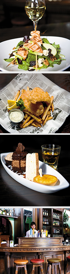 Mission Salad; Fish & Chips; Trinity of temptation; The Local bar. Photos by Hubert Bonnet
