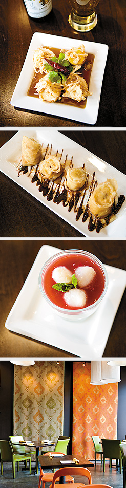 Son-in-Law Egg with crispy shallot and tamarind sauce; Panacotta with Lychee; Fried Banana; dining area. Photos by Hubert Bonnet