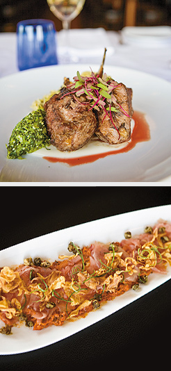 Spiced Lamp Chops; Spicy Sautéed Calamari. Photos by Hubert Bonnet