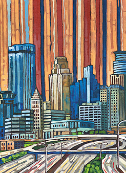 Minneapolis Skyline. Painting by Anastasia Makarenko