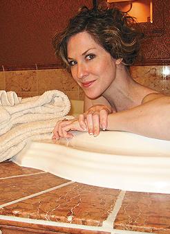 Heidi Fellner luxuriates at Mystic Lake. Photo Courtesy of Heidi Fellner