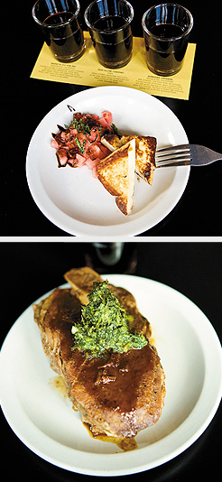 (Above) Wine Flights, sample of three wines. (Below) Seared Halloumi with watermelon, mint, and balsamic reduction; Braised Red Curry Pork Shanks with cilantro gremolata. Photos by Hubert Bonnet