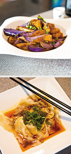 Eggplant in Garlic Sauce; Szechuan Dumplings in Chili Oil. Photos by Hubert Bonnet
