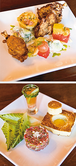 Fried Chicken, with cucumber salad, watermelon, cherry tomatoes, spoon bread; Steak & Eggs: steak tartare, Bloody Mary oyster shooter, romaine hearts, toasted brioche, egg in a hole. Photos by Hubert Bonnet