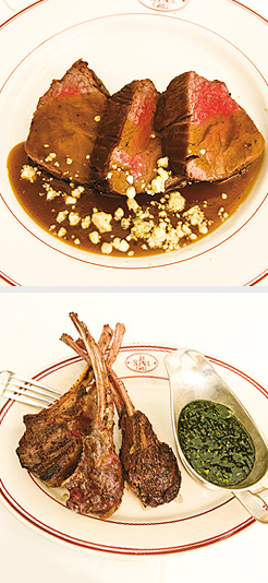 Roast Tenderloin sliced and served with Sauce of the Day; Lamp Chops; Grilled Domestic Lamb Rib Chops with Jalapeño-Mint Jelly. Photos by Hubert Bonnet