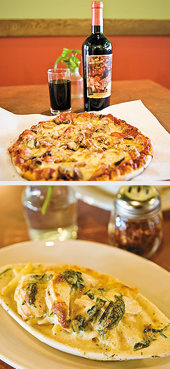 House Special Pizza;Chicken Florentine. Photos by Hubert Bonnet
