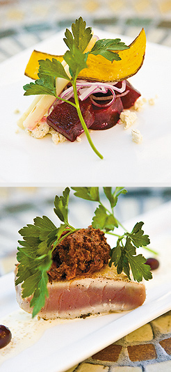 Roasted beet salad, boursin cheese, pickled asparagus, red onion, and fried plaintain chips; Hawaiian ahi tuna, with provençal black olive, sun-dried tomato, jalapeño tapenade, quinoa, vanille bean sauce. Photos by Mike Hnida
