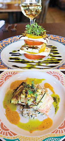 Tampico (Salmon); Campesino Salad. Photos by Hubert Bonnet