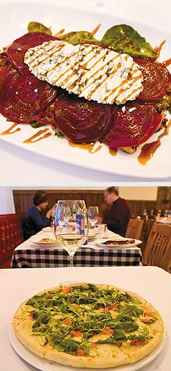Beet Rattafia; Rucola: arugula, red peppers, fontina, garlic oil. Photos by Hubert Bonnet