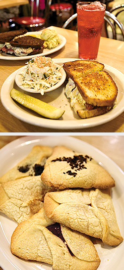 Reuben and Sasha sandwiches with Raspberry Phosphate; Famous Cecil's Hamantashen Cookies. Photos by Hubert Bonnet