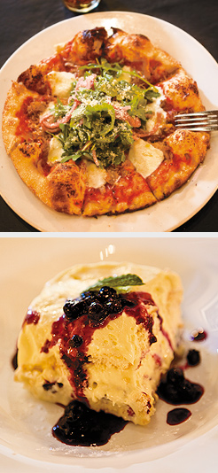 Seasonal Pizza; Blueberry Tiramisu. Photos by Hubert Bonnet