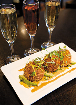 Crab Croquettes with Sparkling Wine Flight. Photo by Hubert Bonnet