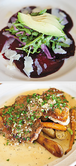 Pressed Chicken; Beet Carpaccio. Photos by Hubert Bonnet