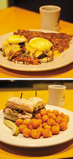 Carnita Benedict; El Cubano Sandwich with tater tots. Photos by Hubert Bonnet