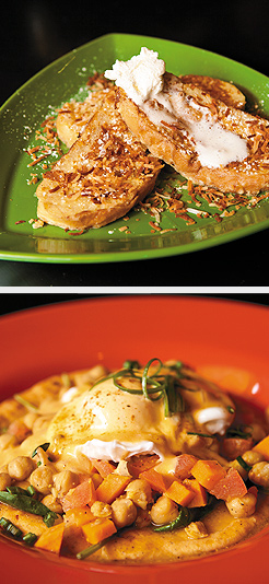 Coconut French Toast; Caribe Eggs Benedict. Photos by Mike Hnida
