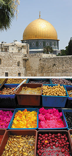 Jerusalem from the Wall; Arab food stand in Jerusalem. Photos by Carla Waldemar