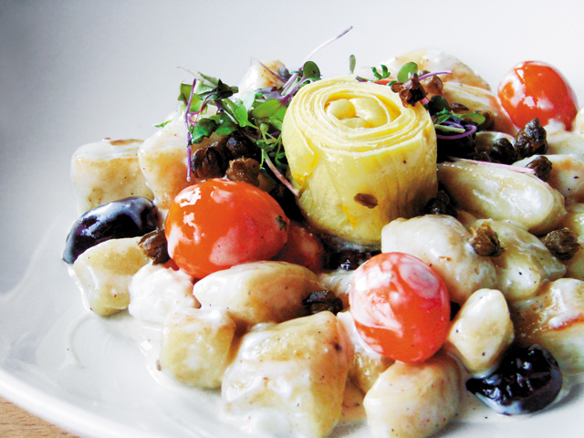 Gnocchi with artichoke, tomatoes, olives, and crisped capers. Photos by Andy Lien