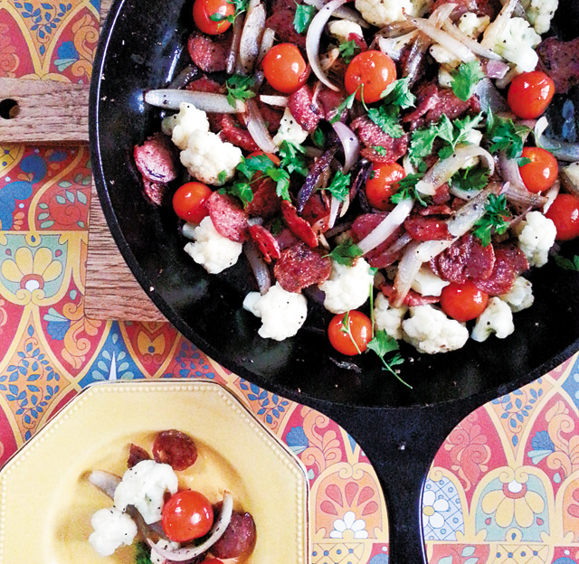 Sopressata with Cauliflower and Tomatoes. Photo by Ross Sveback