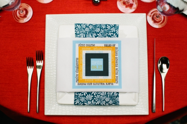 Custom menu-on-napkin piece by Beau Papier by Gateaux, Inc. Photo by Photogen Inc.