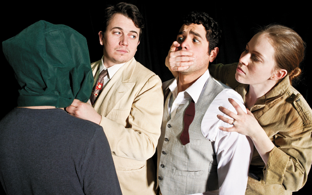 Lorca, David Schlosser (green bag-left), Matt Rein (cream suit), Ricardo Vázquez (grey vest), Evelyn Digirolamo (brown jacket-right). Photo Nancy Wong