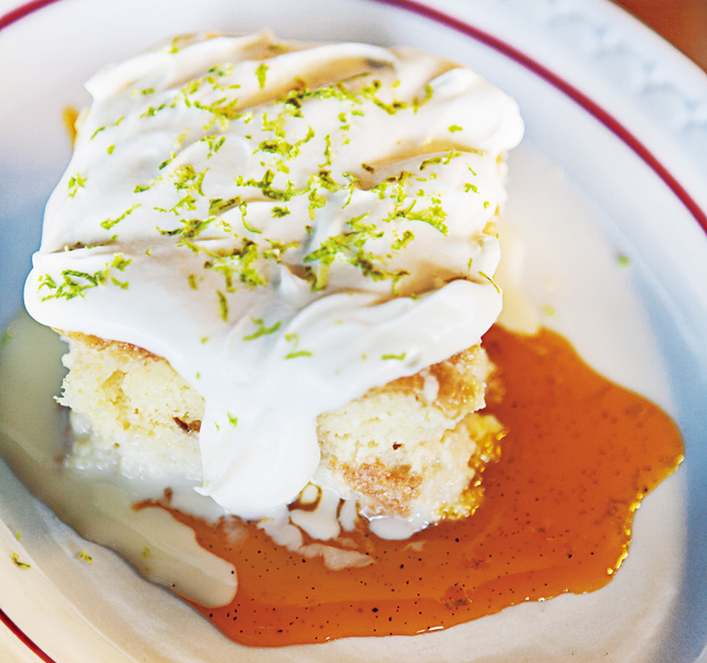 Tres leches cake passion fruit