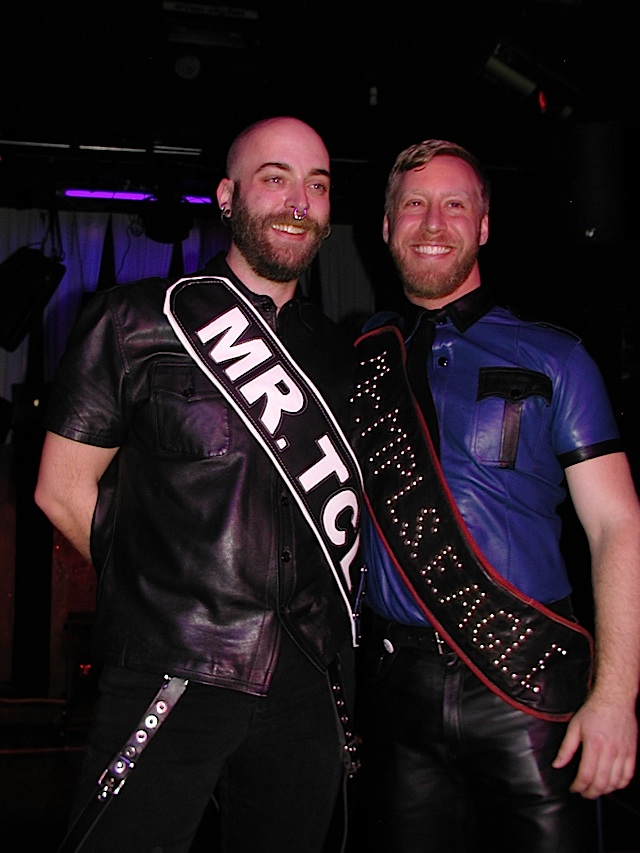 Left: Kyle Truss, Mr. Twin Cities Leather 2013; right: Ryan Brown, Mr. Minneapolis Eagle 2013. Photo by Steve Lenius.