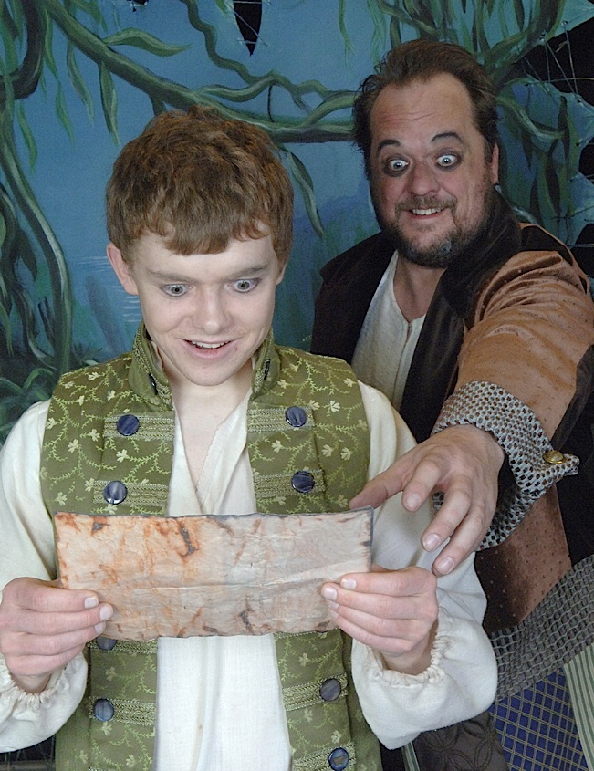 Young Jim Hawkins (Jason Paul Andrews) and Long John Silver (David Tufford). Photo by copyright Act One, Too, Ltd.