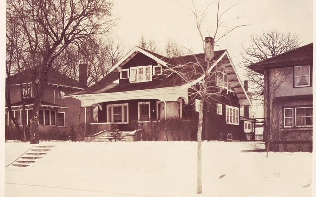 """Historic real estate photos are a great resource in determining a house's original appearance,"" says David. Note the open front porch. Photo courtesy of Hennepin History Museum; Original dining room buffet: ""The house had good bones."""