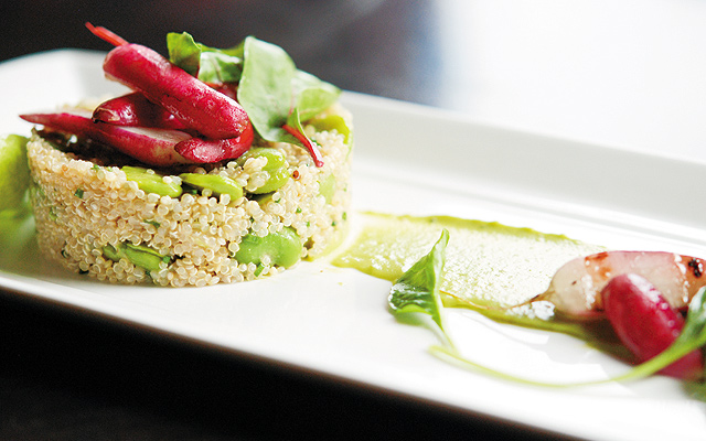 Quinoa salad with fresh fava beans with grilled radishes. Photo by Stephanie A. Meyer